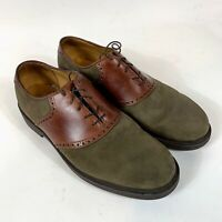 FLORSHEIM COMFORTECH Men's Green Suede/Tan Leather Saddle Oxfords US 11D