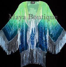 Burnout Velvet Silk Fringe Jacket Kimono Hand dyed Green Teal Maya Wearable Art