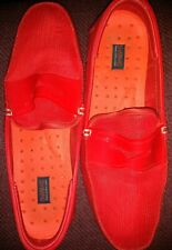 Swims Mens 11 Red Textile Slip On Comfort Penny Loafers Shoes