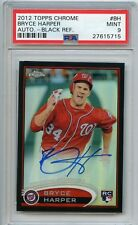 JERSEY# 2012 BRYCE HARPER TOPPS CHROME BLACK REFRACTOR AUTO 34/100 PSA 9 MINT RC