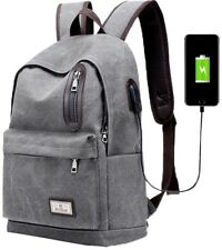 Men Fashion Backpack Canvas Casual Light Weight Mochila with External USB Grey