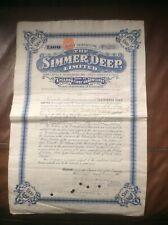 THE SIMMER DEEP LTD.£100 Bond First Debenture 1907