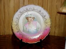 Vintage French Antique Lady Portrait Plate Lavender Pink Background V Bernard