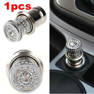 12V Car Cigarette Lighter Bling Crystal Rhinestone Car Charger Decor Accessories