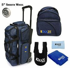 KAZE SPORTS 3 Ball Bowling Roller Denim Smooth Wheel Add On Spare Tote Bag +Gift