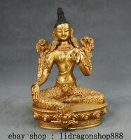 "7.4""Ancien Tibet Mahayana Bouddhisme Cuivre Vert Tara illumination Déesse Statue"