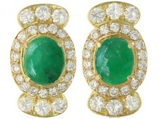 Vintage 1970s 5.86ct Emerald and 4.32ct Diamond 18ct Yellow Gold Earrings