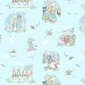 Beatrix Potter Peter Rabbit & Friends Outdoors Digital Print Cotton Fabric BTY