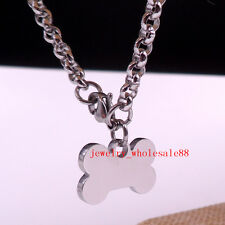 Women Stainless steel Necklace Bone Dog Tag Pendant Jewelry Rolo Chain 4mm 24''