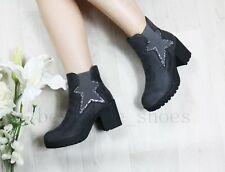 LADIES WOMEN NEW CHELSEA PLATFORM ANKLE BOOTS LOW MID HIGH BLOCK HEEL SHOES SIZE