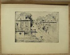 Eau-forte, La Rue de Paris à Rozoy-en-Brie, par E.Delâtre, vers 1906