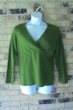 Womens Falls Creek Top Size L Green Long Sleeves V Neck Shirt Career Casual A1