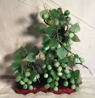 "LARGE Vintage Mid Century GLASS LUCITE ? green GRAPE Leaf Vine CLUSTER 16"" x 12"""