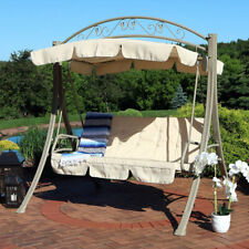 New listing Sunnydaze Deluxe 2-Person Steel Frame Beige Cushioned Garden Swing with Canopy