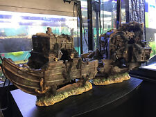 More details for extra large galleon ship wreck xl fish tank aquarium ornament 2 halves (72cm)