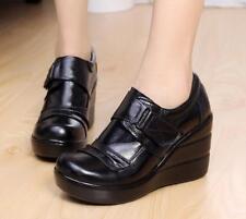 Women Leather Platform Wedge High Heels Pumps Slip on Creepers Black Shoes Sz