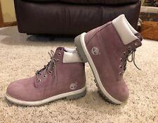 "Timberland 6"" Boots 5.5 Lavender Purple Waterproof Child/ Ladies Nubuck Leather"