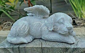 Pet Memorial Sleeping Dog Angel Wings Headstone Grave Marker  Ornament 15.5cm