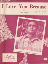 Johnny Cash Sheet Music: I Love You Because Aussie Ex, 4pp 1949
