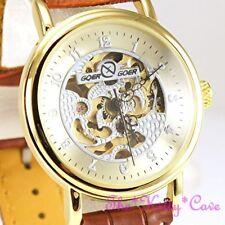 Relojes de pulsera unisex de oro de cuero