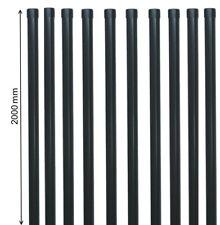 10 Zaunpfähle rund Metall Ø 34 Pfosten in grau Pfahl Strebe Draht Zaun-Anlage