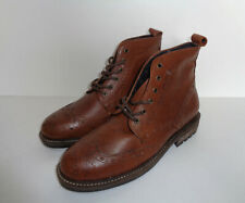 Mens Tan Lace Up Brouges Chukka Real Leather Casual Boots Shoes New UK Size 7