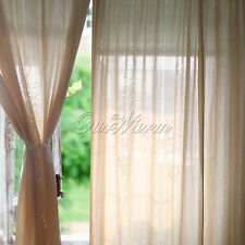 Vintage Tab Top Handmade Hollow Out Cotton Linen Crochet Lace  Retro Curtains