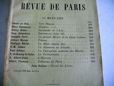 LA REVUE DE PARIS n° 6 - 1933 revue littéraire GIROUDOUX JAVAL MAUGE GOBLET etc