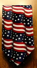 Brand New American Flags All Over A Brand New Navy Blue Neck Tie's 1103