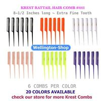 Krest Cleopatra 8-1/2 inch Rattail Combs Extra Fine Tooth Hair Stylist barbers