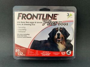 FRONTLINE Plus for Dogs 89 to 132 lbs , 3 Doses, NEW, #S004B