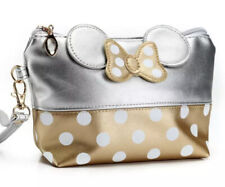 Cute Silver/Gold Minnie Mouse  Dots Travel Cosmetic Bag Clutch Bag Handbag