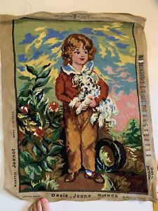 VINTAGE QUALITY TAPESTRY CHILD WITH PUPPY DOG READY TO FRAME 50cms x 68cms
