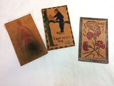 Antique 1900s Leather PostcardsLot of 3, 1 by Heal 2 stamped Minneapolis MN