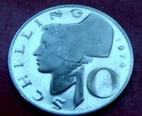 RARE PROOF Frosty Cameo  1974 Austria 10 Schillings. Mintage 76,000 with HOLDER