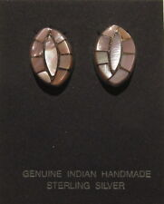 Native American Zuni Earrings - Pink Shell - signed RVB
