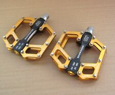 SCUDGOOD MTB Mountain Road Bike Bearing Pedals Flat Bicycle Aluminum Pedal Gold