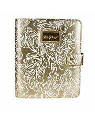NWT~Lilly Pulitzer Agenda Folio 'Beach Palms' Leatherette Metallic Gold White