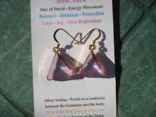 VOGEL Rose Aura Quartz Triangle Earrings Gold Setting!-Infused Quartz+24K Gold