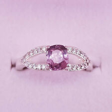 Natural Lt. Pink Spinel w/ Zircons set in .925 Sterling Silver, Ring Size 7