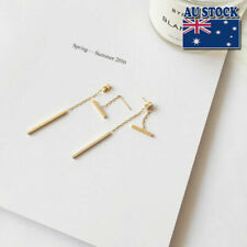 Sex 925 Sterling Silver & Gold Plated Dainty Bar Stick Line Dangle Stud Earrings