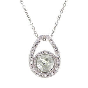 0.80 cttw Green Amethyst Pendant Necklace in Brass Round Shape with Chain
