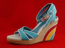 b292304e1f0c SALVATORE FERRAGAMO Wedges Sandals Rainbow Heels Ankle Strap Womens US 7 38   650