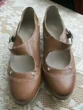 FOOTGLOVE MARY JANE STYLE UK7 BROWN LEATHER BUCKLE FASTENING SHOES WEDGE HEEL