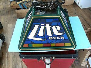 VINTAGE 90s MILLER LITE BEER LOGO POKER POOL TABLE BAR LIGHT HANGING SIGN PUB