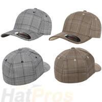 Flexfit® 6196 Fitted Ballcap Blank Cap Blank Golf Glen Check Hat Plaid Flex Fit