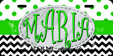 Monogrammed License Plate Chevron design Vanity Car Tag polka dot lime green