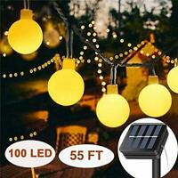Solar String Lights Outdoor 100 LED, 17M/55Ft Solar Powered Fairy Lights 8 Modes