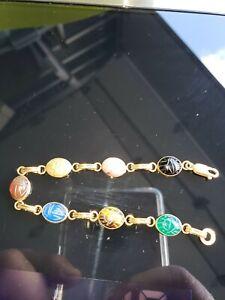 Vintage Scarab Bracelet With 7 Genuine Stones Set in Gold 14K Bezel