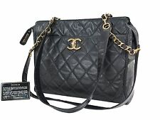 Authentic CHANEL Black Quilted PVC Coated Canvas Chain Shoulder Tote Bag #25740